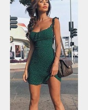 dress,green polka dot,cute dress,fashion,style,polka dots,sexy,short dress,summer dress