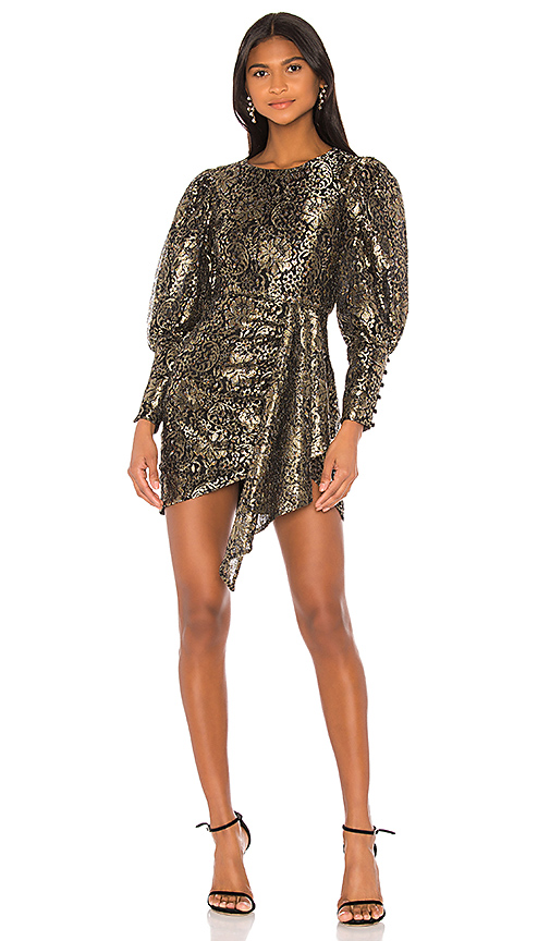 Camila Coelho Juliette Mini Dress in Gold and Black from Revolve.com