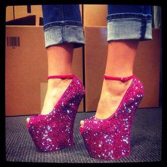 shoes high heels pink pink heels pink high heels glitter glitter heel shoes glitter shoes girly fashion shoes