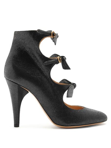 Chloe bow embellished pumps leather black shoes