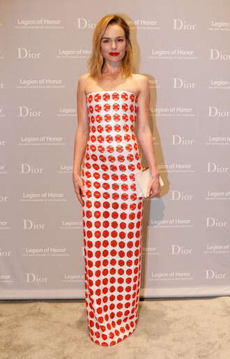 dress gown strapless strapless dress kate bosworth polka dots maxi dress