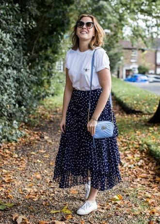 blogger bag skirt shirt sunglasses shoes t-shirt fall outfits gucci bag blue bag shoulder bag sneakers midi skirt
