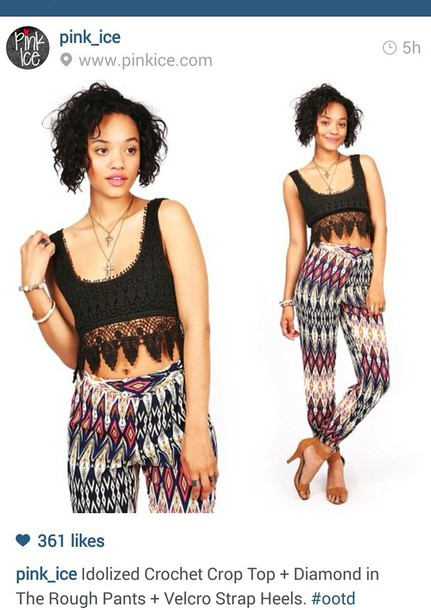 pants tribal pattern crochet crop top