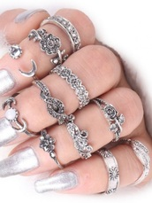 jewels,girly,ring,knuckle ring,rings and tings,rings cute summer,silver ring,rings and jewelry