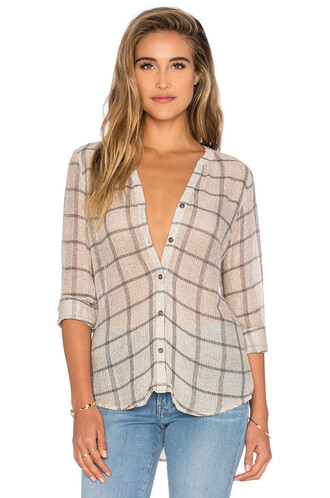 top plaid long mesh taupe