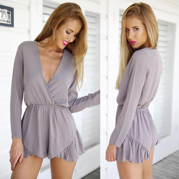 6ce83ac8cf1 romper dream closet couture grey grey romper long sleeve romper chiffon