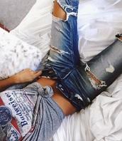 shirt,t-shirt,grey t-shirt,budweiser,jeans,ripped jeans