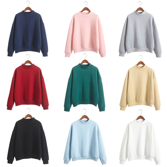 sweater fashion style pink green red blue black navy yellow grey thickening warm turtleneck sweatshirt it girl shop