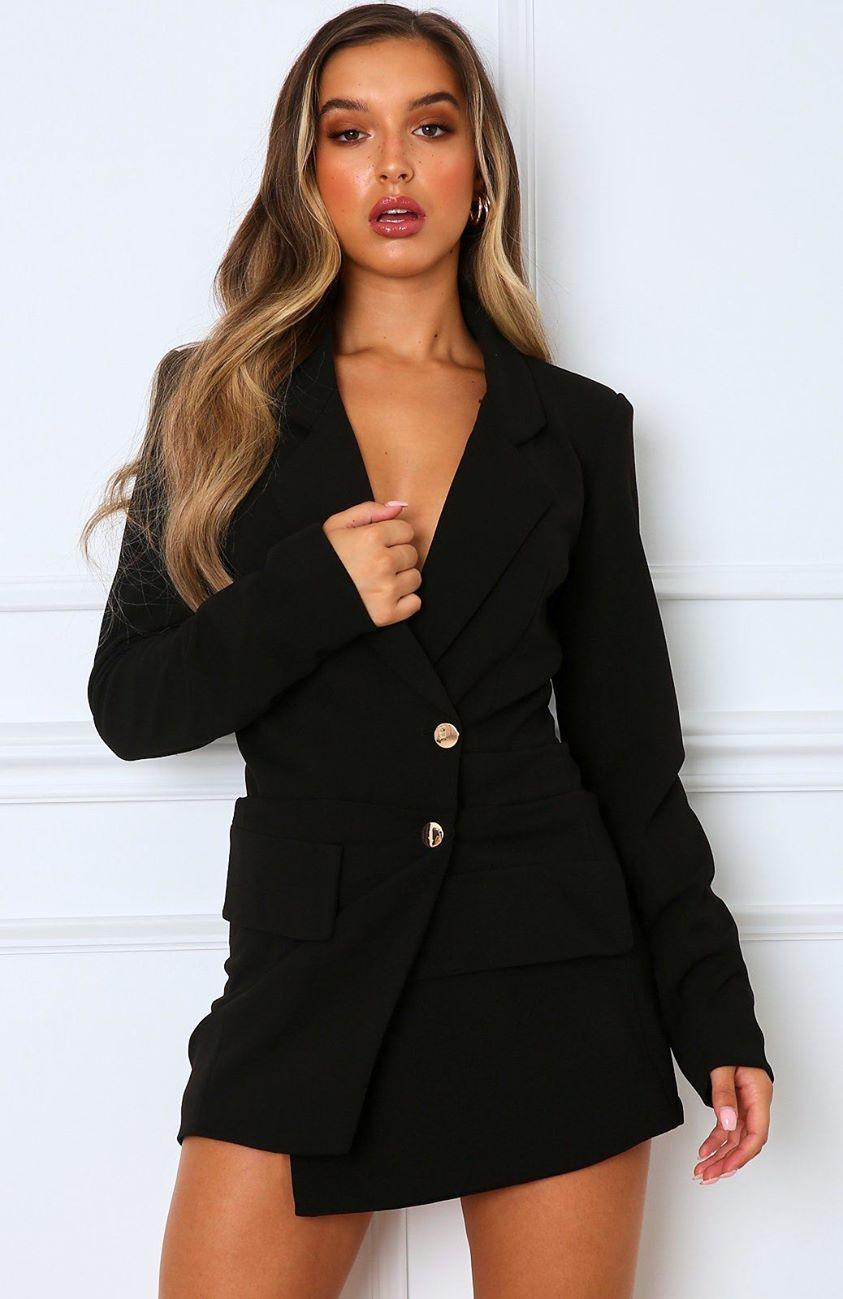 Hold The Line Blazer Dress Black