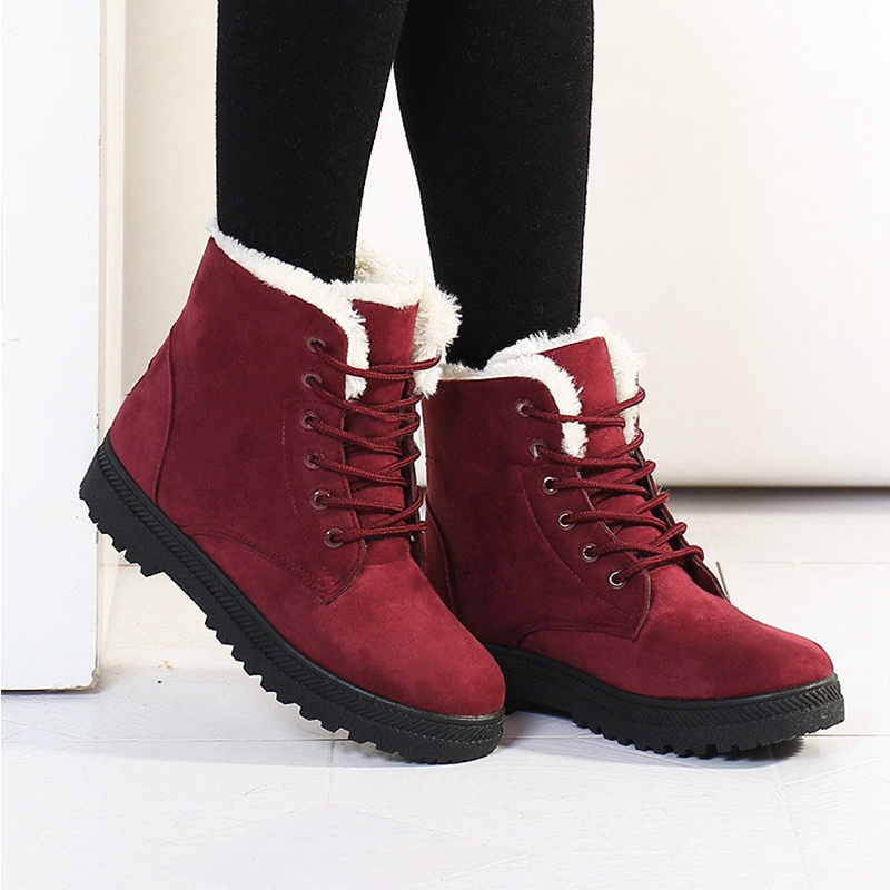 Women Boots Snow Warm Winter Boots Lace Up Fur Ankle Boots Ladies ...