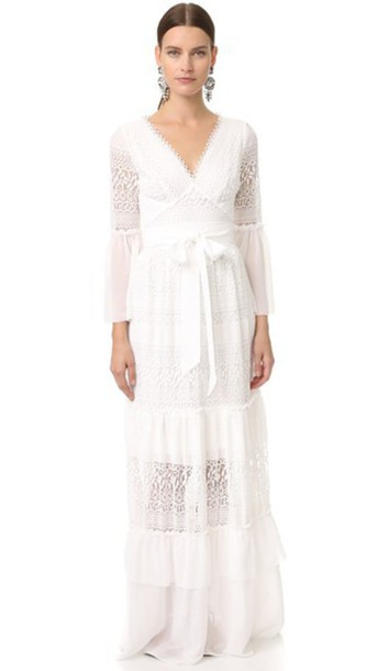 Temperley London Long Rope Lace Dress - White