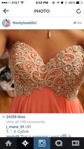dress,cute,details,peach,dance,pretty