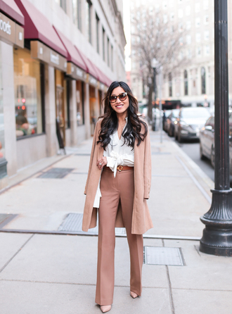 coat camel tumblr camel coat shirt white shirt pants wide-leg pants nude pants office outfits classy