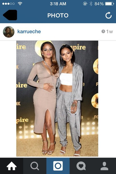 cardigan grey coat karrueche nude dress grey sweatpants