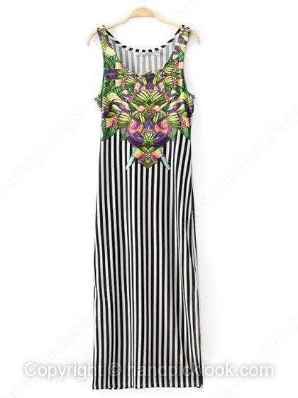 Black and White Straps Sleeveless Striped Dress - HandpickLook.com