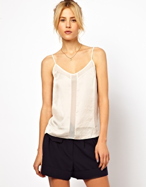 Asos cami with skinny straps and mesh panel at asos