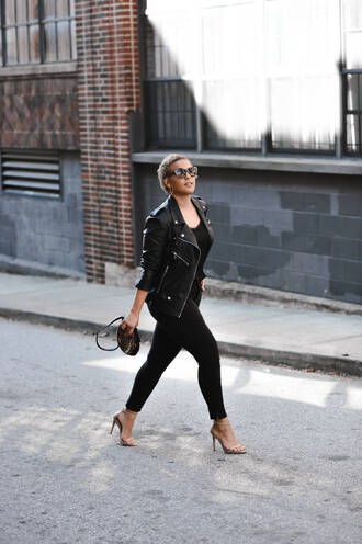fashionably lo blogger tank top jeans jacket sweater shoes bag sunglasses fall outfits leather jacket black pants sandals high heel sandals