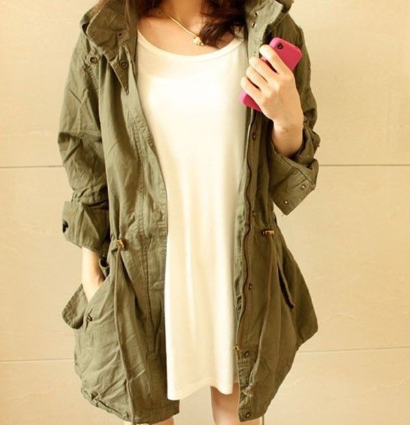 WOMEN LADY HOODIE DRAWSTRING ARMY GREEN MILITARY TRENCH PARKA JACKET COAT JUMPER