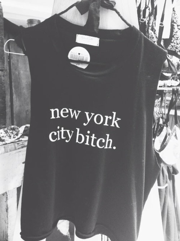 shirt ny city bitch white black nice