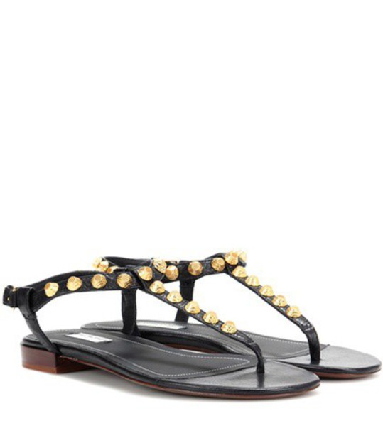 Balenciaga studded sandals leather sandals leather black shoes