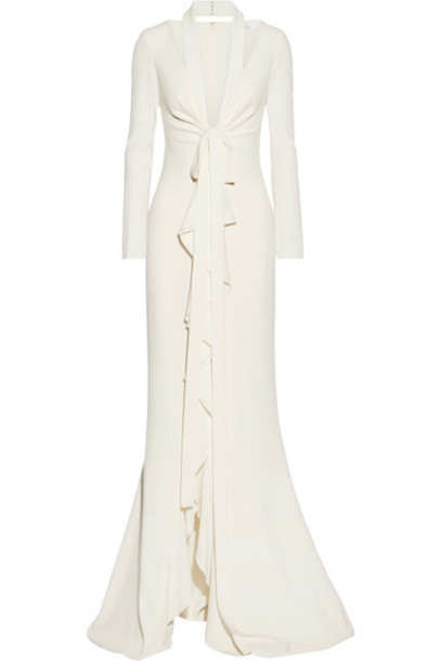 oscar de la renta gown ruffle cream dress