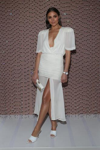 dress white all white everything olivia culpo spring outfits slit dress mules watch jewels shoes plunge v neck