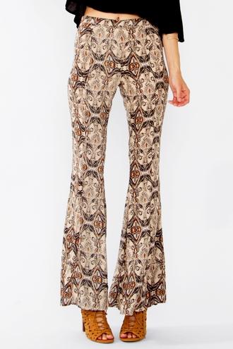 pants trendyish print retro flare bell bottoms tight leggings