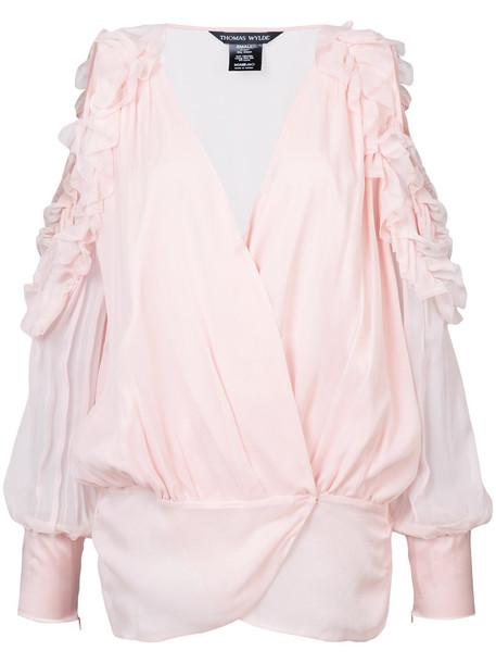 Thomas Wylde blouse ruffle women spandex silk purple pink top