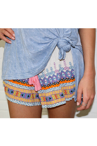 shorts amazinglace shirt printed bright colors tassel tribal pattern multi colored