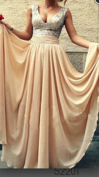 dress champagne colored dress long bridesmaid dress sparkly dress sleeveless dress