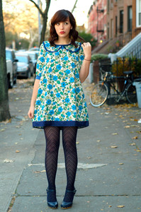 keiko lynn floral flowers blue dress blue dress