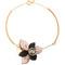 Floral leather-petal necklace