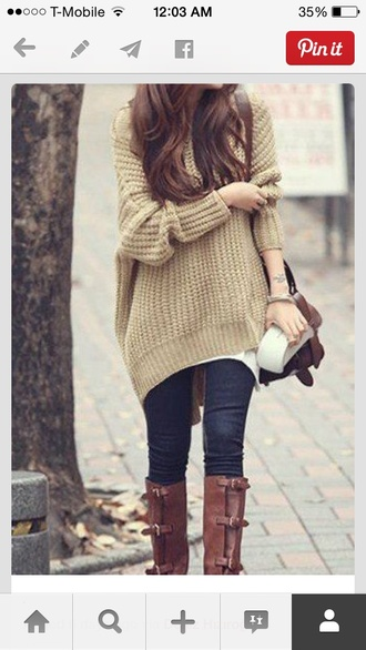 cardigan oversized sweater knitwear sweater winter sweater autumn/winter fall sweater warm sweater coat bag pants boots jeans brown leather boots cute bag pear colored sweater fall outfits knitted sweater baggy sweaters cozy sweater