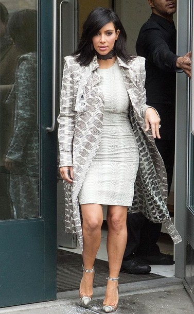 dress pumps coat kim kardashian animal print