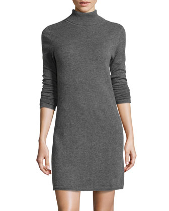 Sleeve turtleneck knit dress, gray