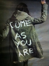 coat,army green,blouse,come as you are,shirt,khaki,coay,quote on it,jacket,grunge,green,nirvana,tumblr,original,army green jacket,style,indie,fashion,krist novoselic,kurt cobain,song,dave grohl,sweater,pale,olive green