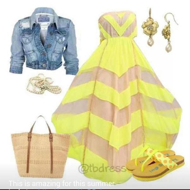 dress denim jacket yellow summer dress