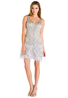 Sue Wong Platinum Beaded Feather Skirt Dress