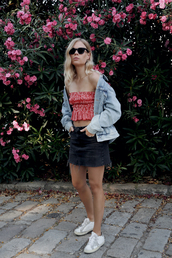 top,skirt,tumblr,bandeau top,red top,crop tops,jacket,denim jacket,denim,mini skirt,denim skirt,sneakers,white sneakers,shoes