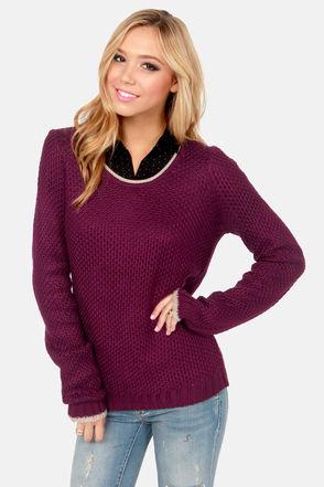 Olive & Oak Sweater - Burgundy Sweater - Knit Sweater - $63.00