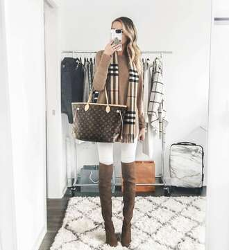 carly cristman blogger sweater scarf shoes bag boots louis vuitton bag beige sweater white pants