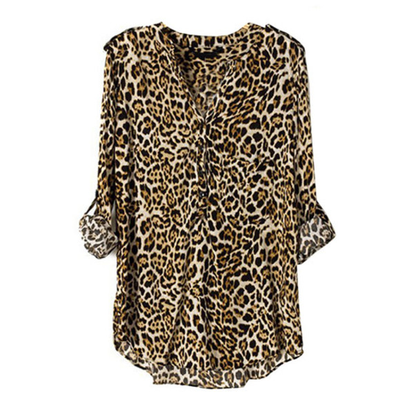 blouse leopard blouse rolled up sleeves v neck