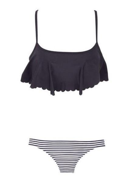 Swimwear Black White Swimwear Stripes Flowy Black