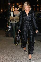 jumpsuit,hailey baldwin,black,pants,top,pumps,model off-duty,ny fashion week 2018,fashion week,shoes