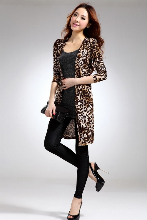 Long Sleeve Leopard Print Weave Cardigan Knitting Milk Silk Long ...
