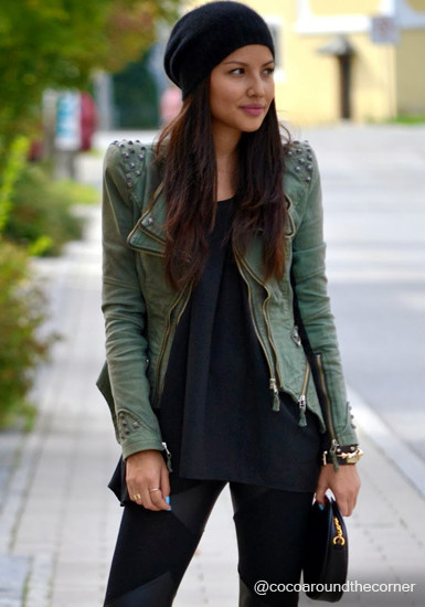 Studded Shoulder Denim Blazer - Green - Lookbook Store