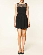 black dress,plumetis,polka dots,dress