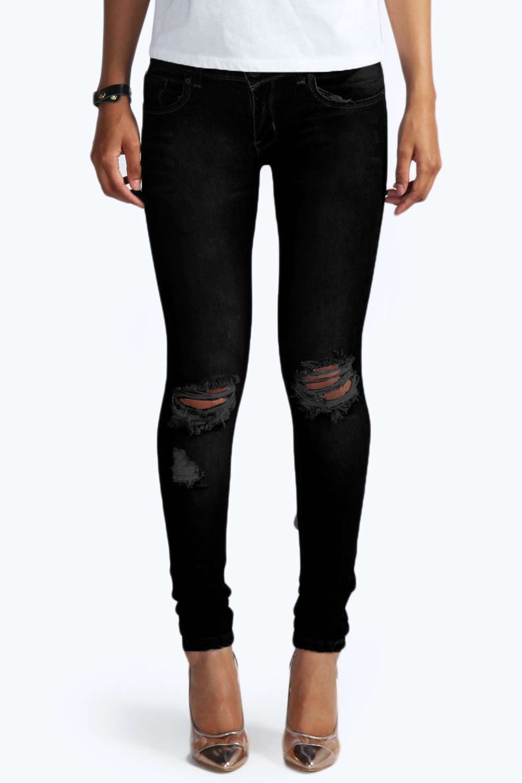 Ripped Knee Black Skinny Jeans