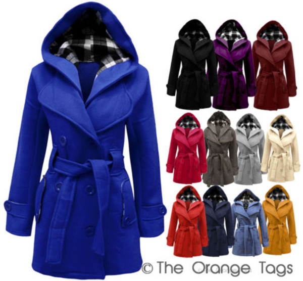 jacket belt button hooded trendy tumblr squares warm winter outfits ladies coat urban celebrity style winter coat blue black purple burgundy fuschia grey cream denim red mustard