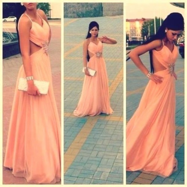 Dress: peach, coral, maxi dress, clutch, silver, pink, fashion ...